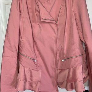 Moto style pink blazer with zipper closure